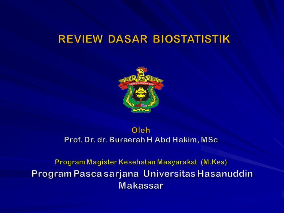 REVIEW DASAR BIOSTATISTIK Program Pasca sarjana Universitas Hasanuddin