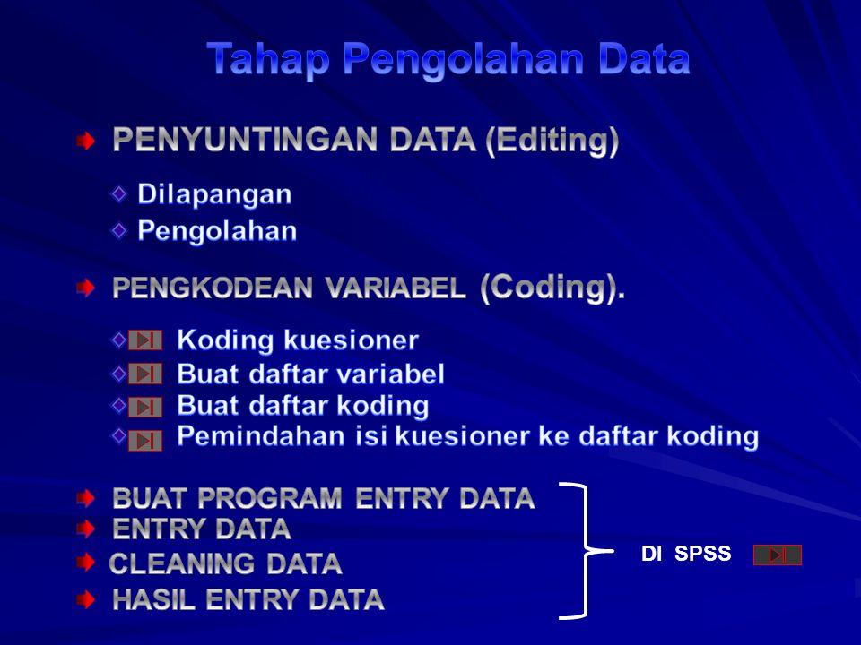 Tahap Pengolahan Data PENYUNTINGAN DATA (Editing) Dilapangan