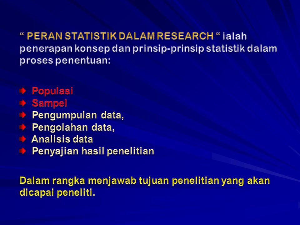 PERAN STATISTIK DALAM RESEARCH ialah penerapan konsep dan prinsip-prinsip statistik dalam proses penentuan: