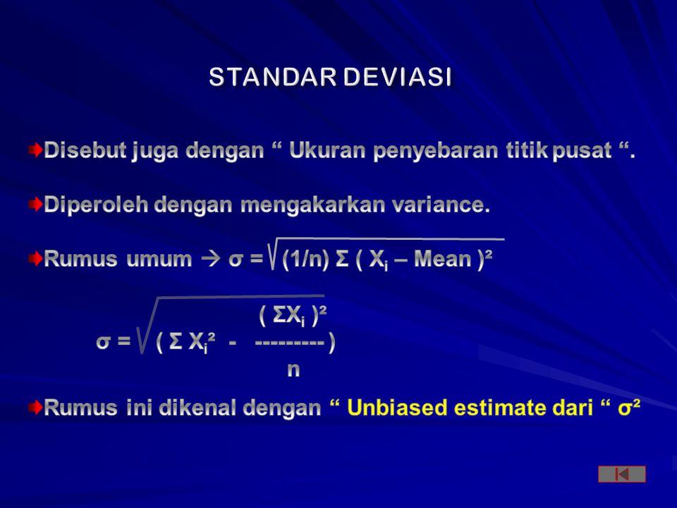 STANDAR DEVIASI Disebut juga dengan Ukuran penyebaran titik pusat .