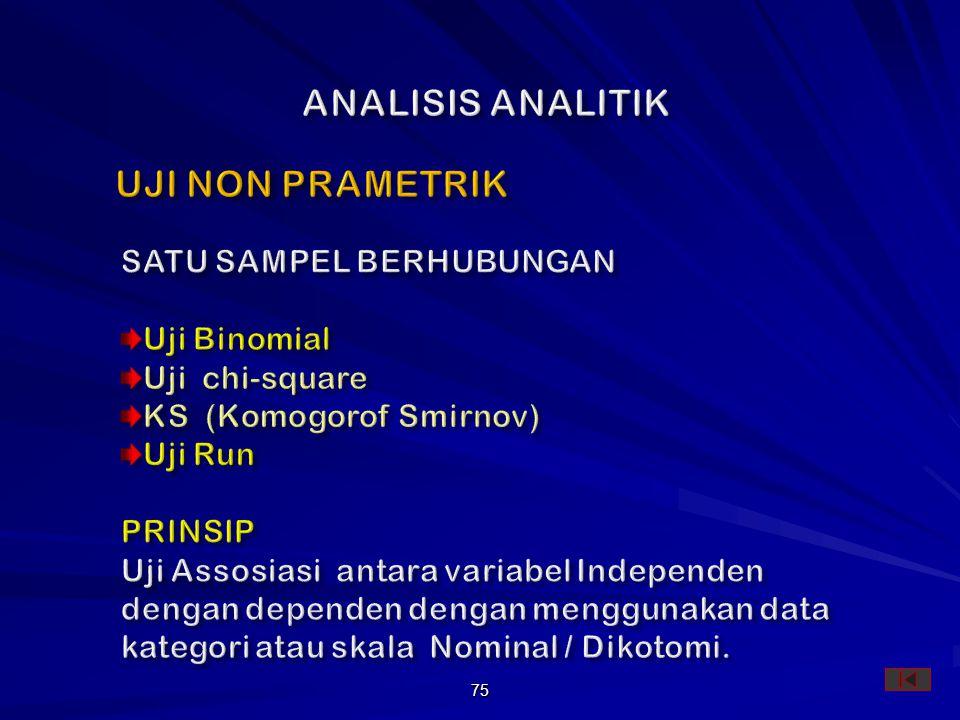 ANALISIS ANALITIK UJI NON PRAMETRIK SATU SAMPEL BERHUBUNGAN