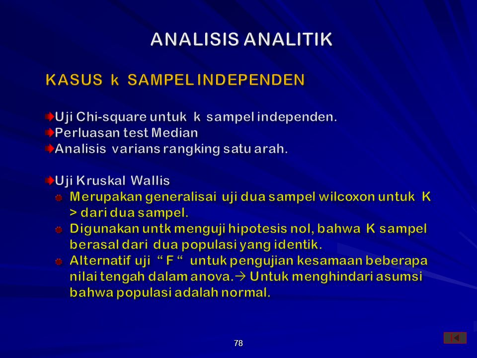 ANALISIS ANALITIK KASUS k SAMPEL INDEPENDEN