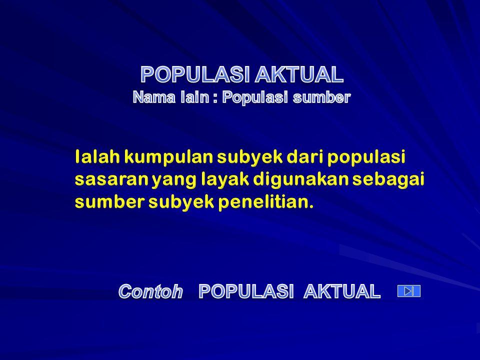 POPULASI AKTUAL Nama lain : Populasi sumber