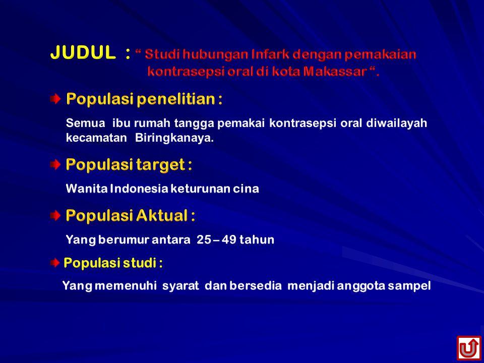 JUDUL : Studi hubungan Infark dengan pemakaian kontrasepsi oral di kota Makassar .