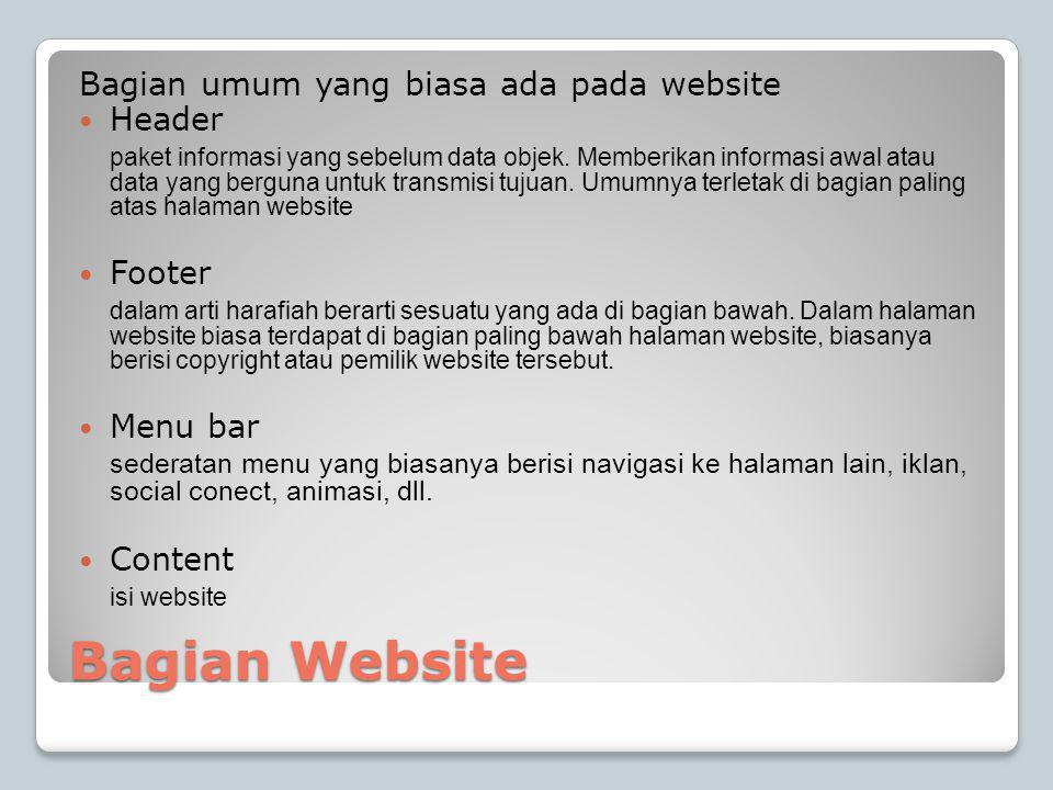 Bagian Website Bagian umum yang biasa ada pada website Header
