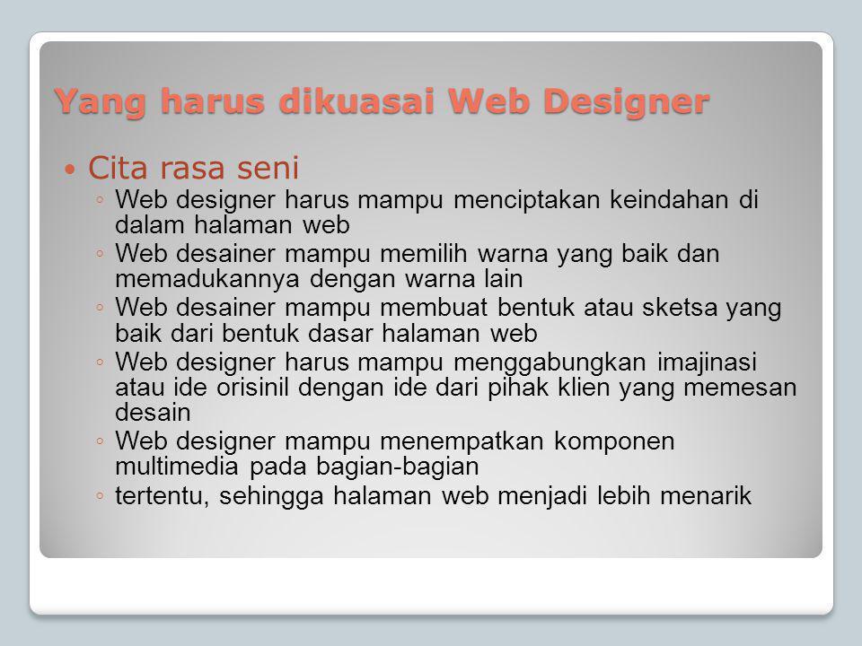 Yang harus dikuasai Web Designer