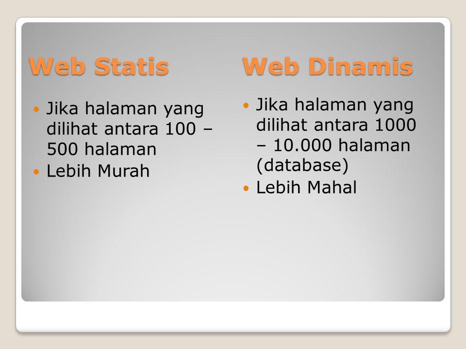 Web Statis Web Dinamis. Jika halaman yang dilihat antara 1000 – 10.000 halaman (database) Lebih Mahal.