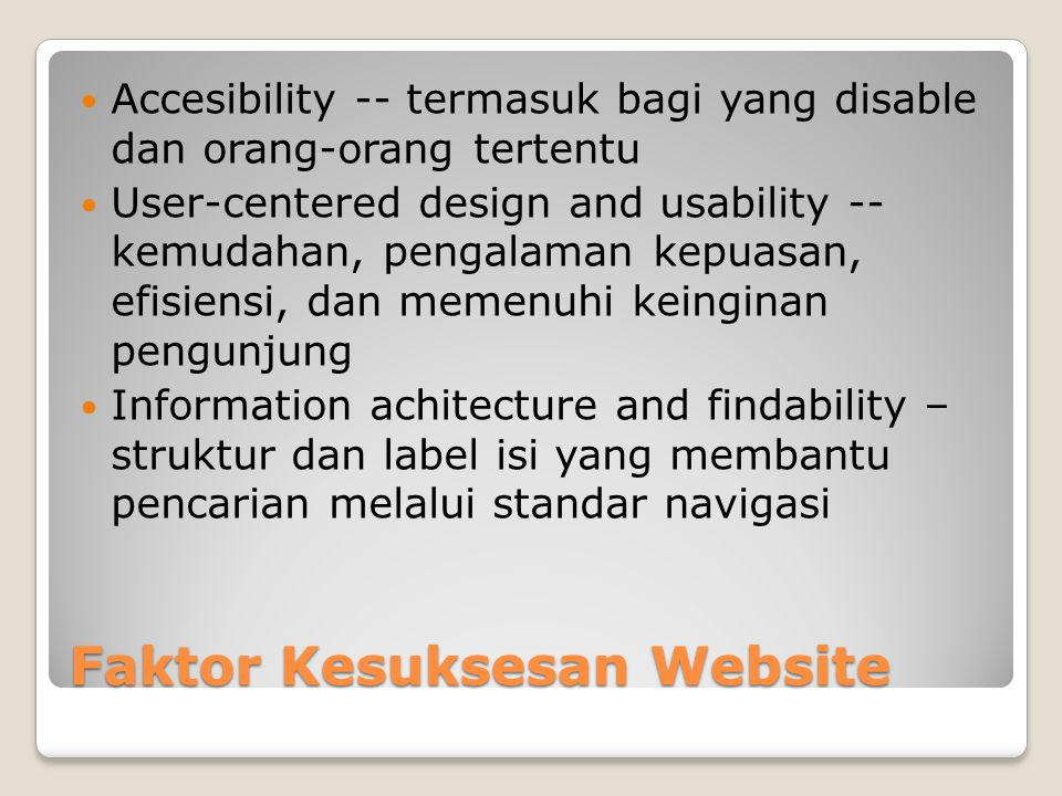 Faktor Kesuksesan Website