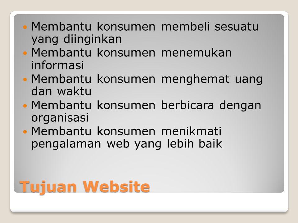 Tujuan Website Membantu konsumen membeli sesuatu yang diinginkan