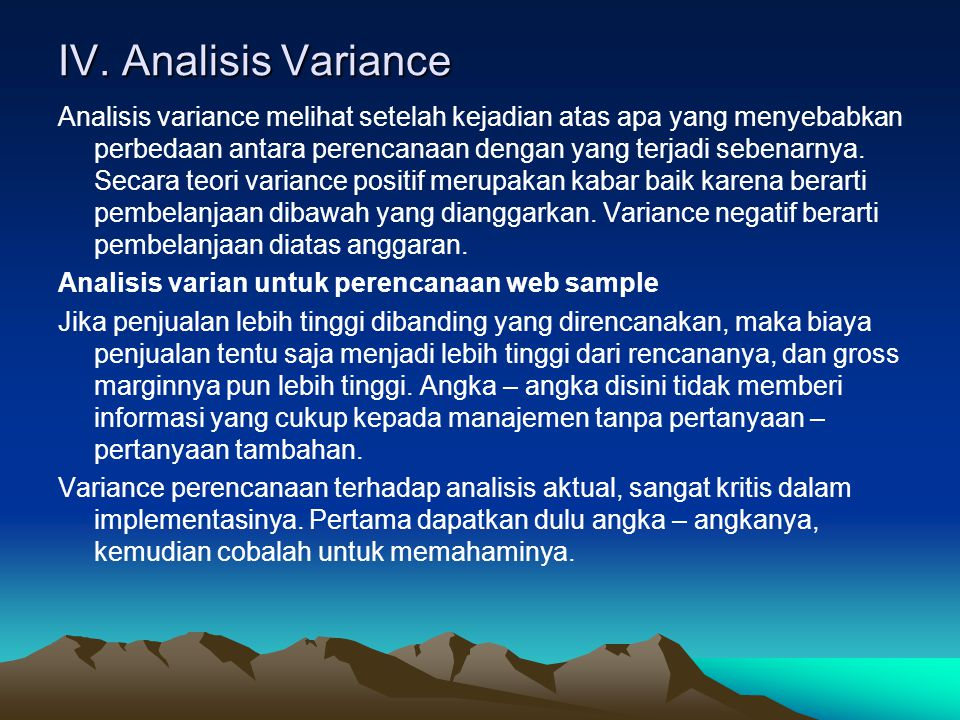 IV. Analisis Variance