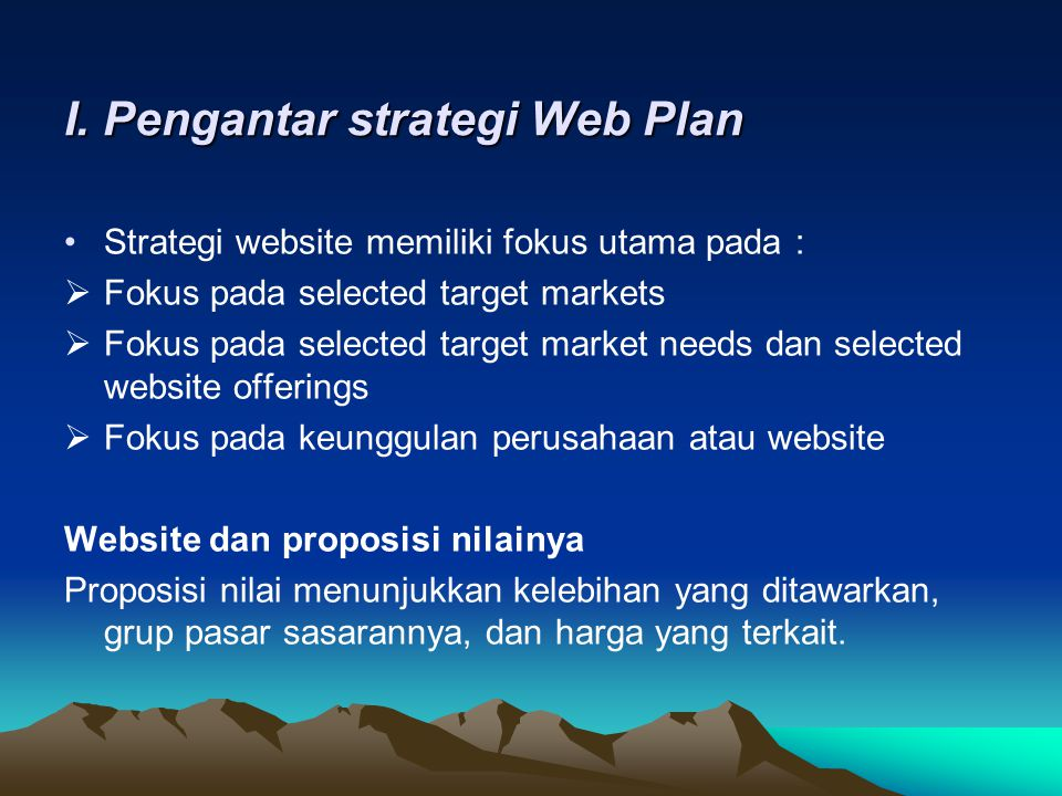 I. Pengantar strategi Web Plan