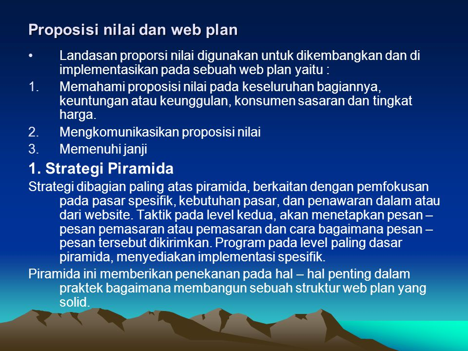 Proposisi nilai dan web plan