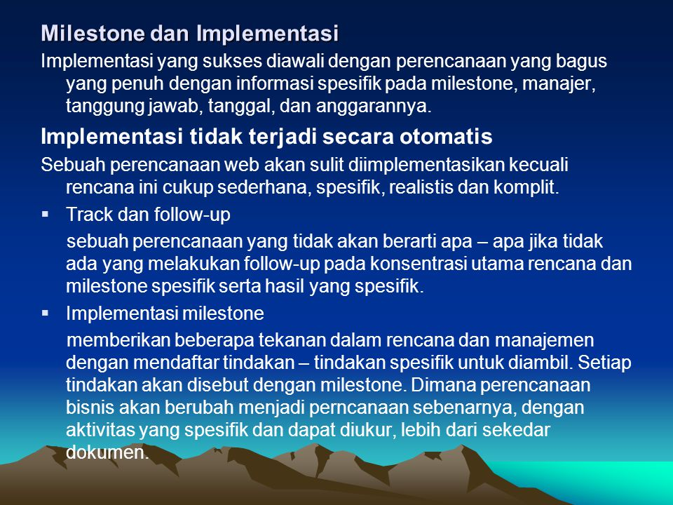 Milestone dan Implementasi