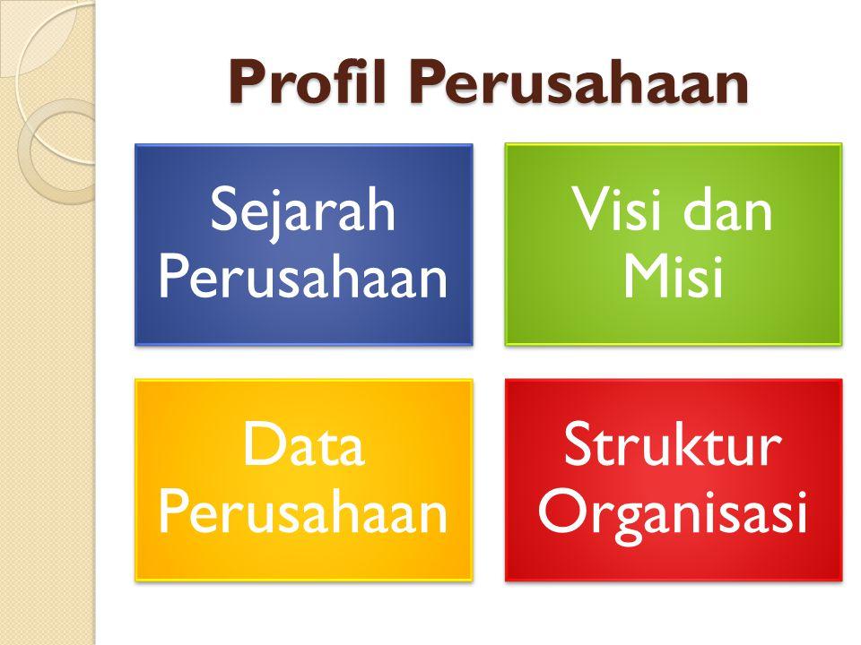 Profil Perusahaan Sejarah Perusahaan Visi dan Misi Data Perusahaan Struktur Organisasi
