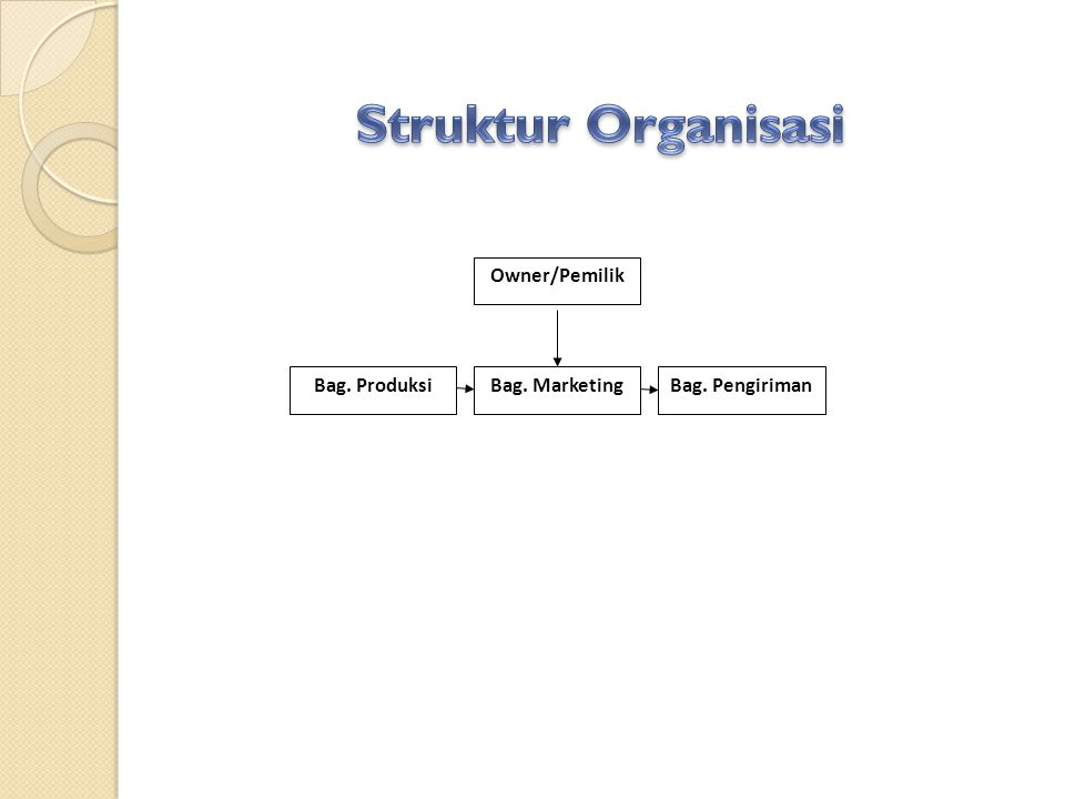 Struktur Organisasi Owner/Pemilik Bag. Produksi Bag. Marketing