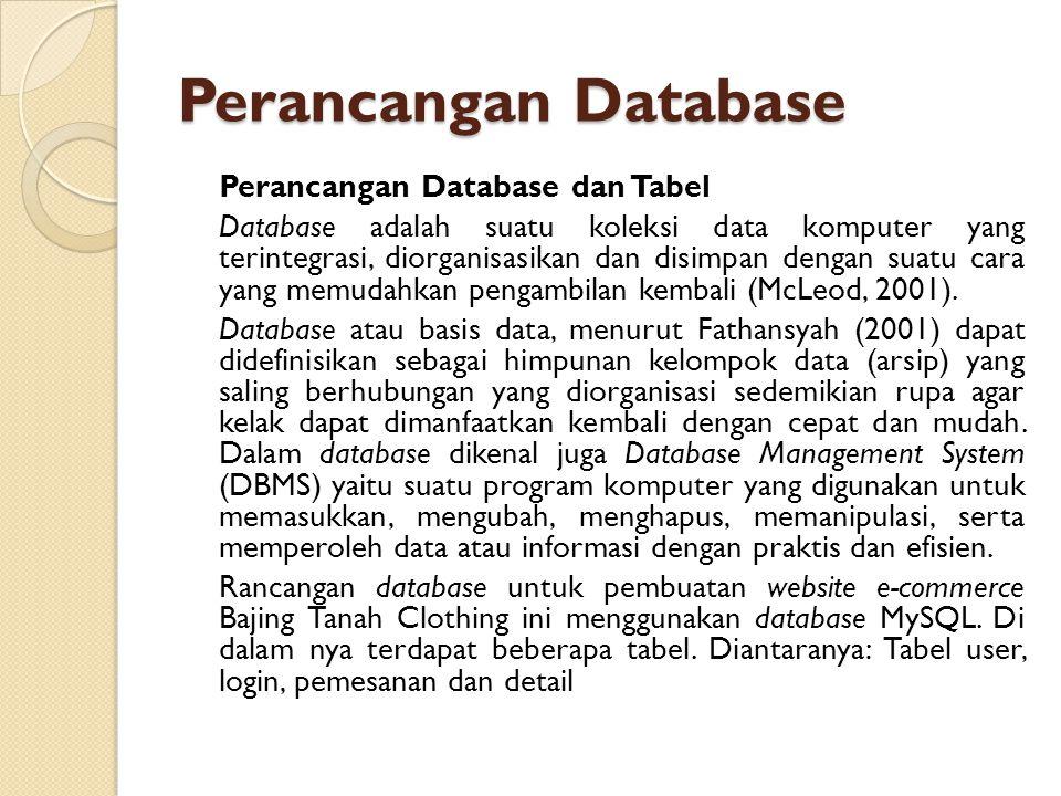 Perancangan Database Perancangan Database dan Tabel