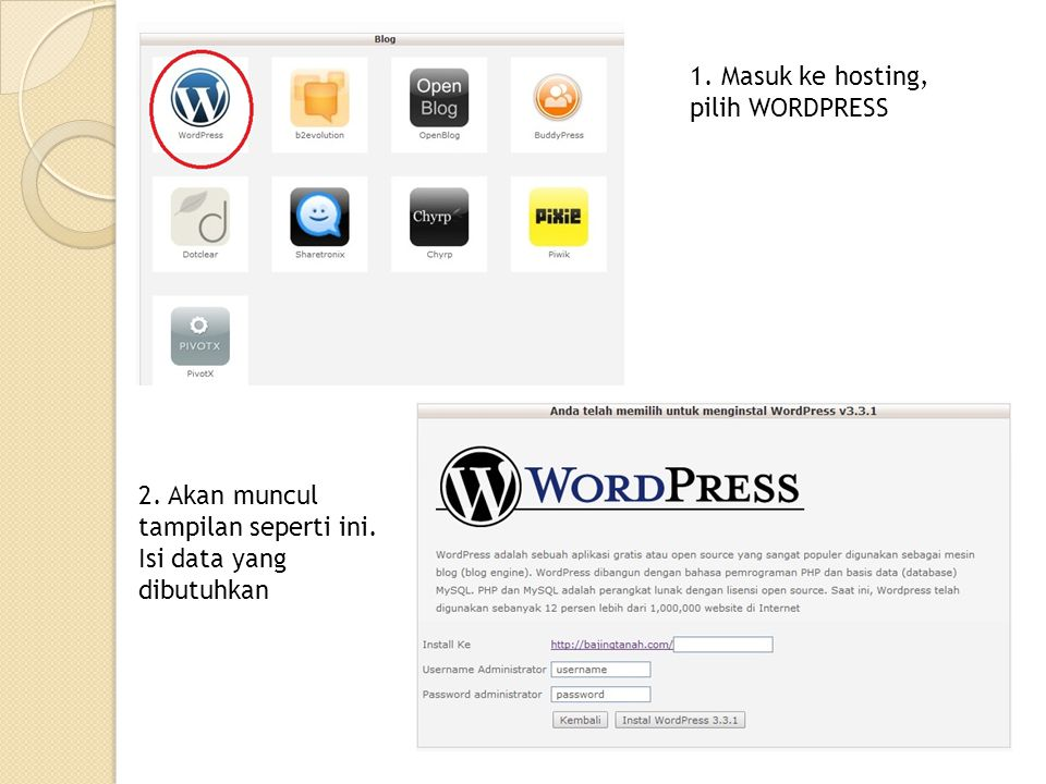 1. Masuk ke hosting, pilih WORDPRESS