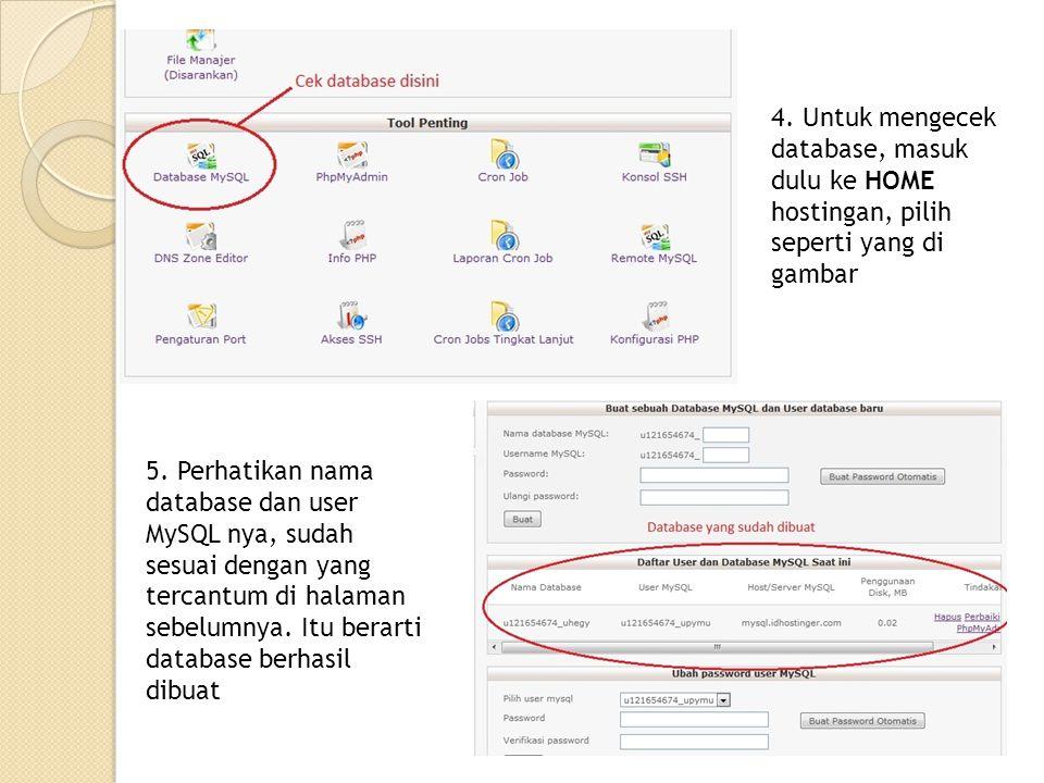 4. Untuk mengecek database, masuk dulu ke HOME hostingan, pilih seperti yang di gambar