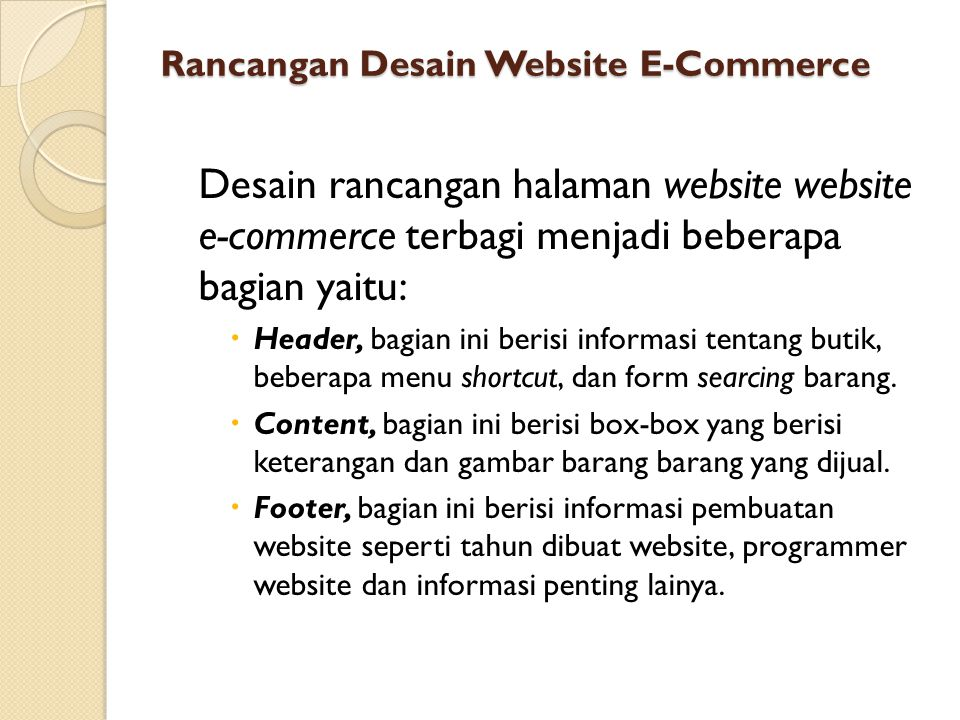 Rancangan Desain Website E-Commerce