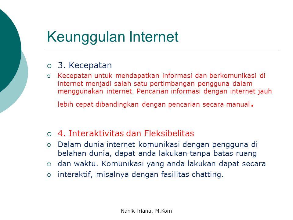 Keunggulan Internet 3. Kecepatan 4. Interaktivitas dan Fleksibelitas