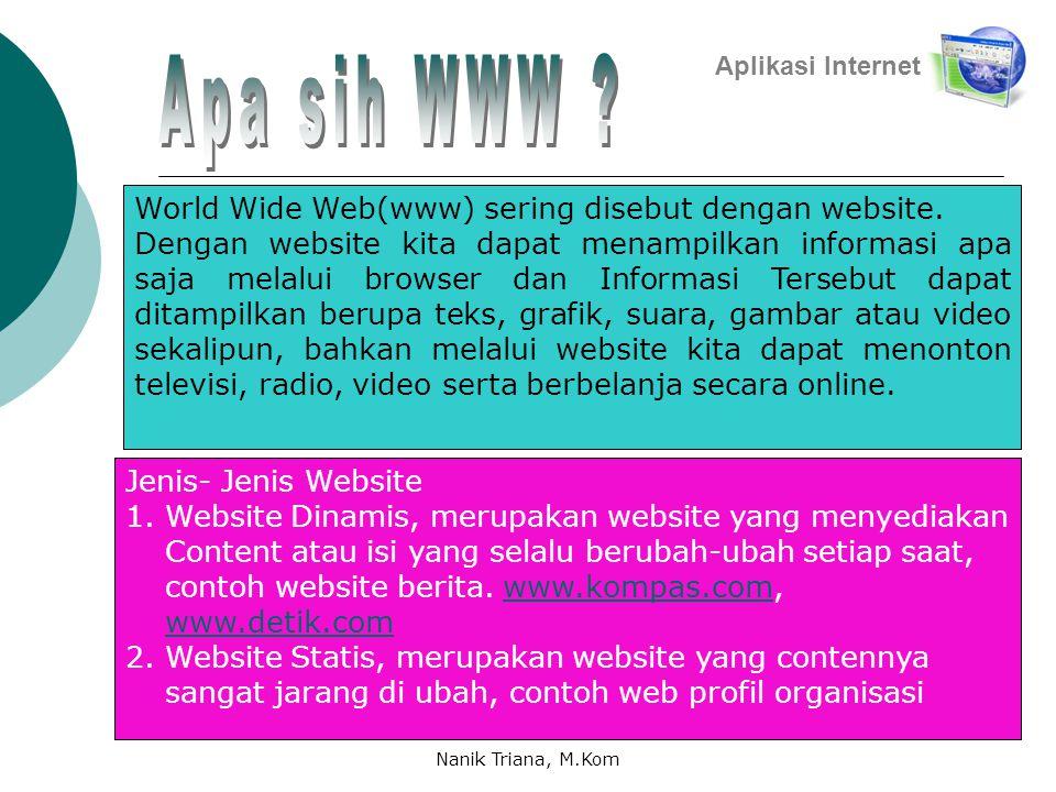 Apa sih WWW World Wide Web(www) sering disebut dengan website.