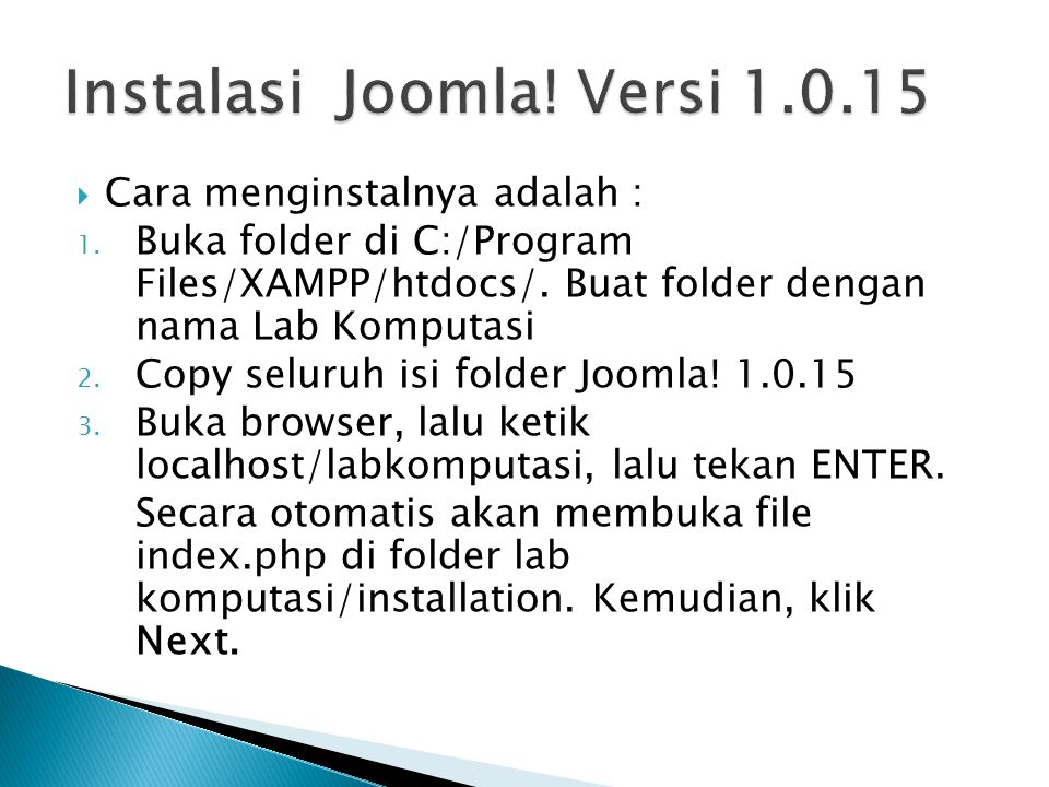Instalasi Joomla! Versi 1.0.15