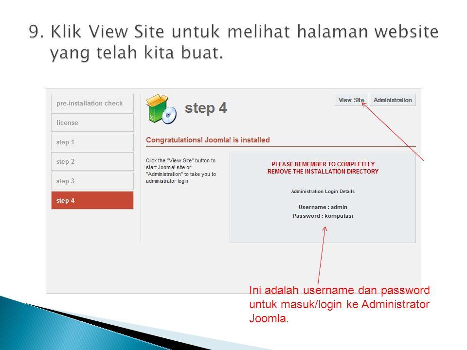 9. Klik View Site untuk melihat halaman website yang telah kita buat.