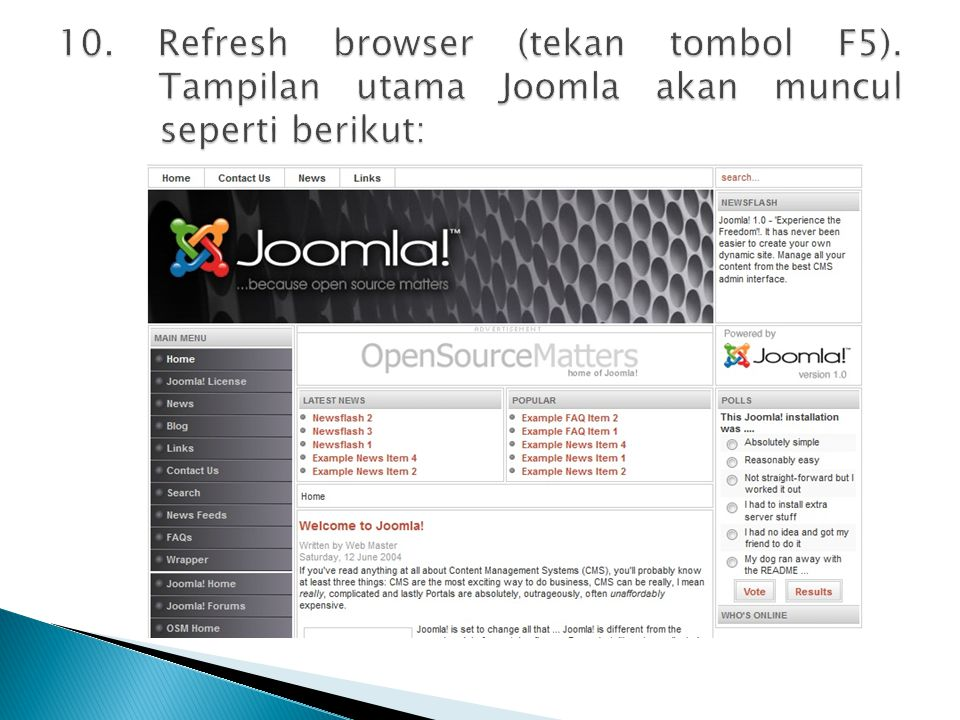 10. Refresh browser (tekan tombol F5)