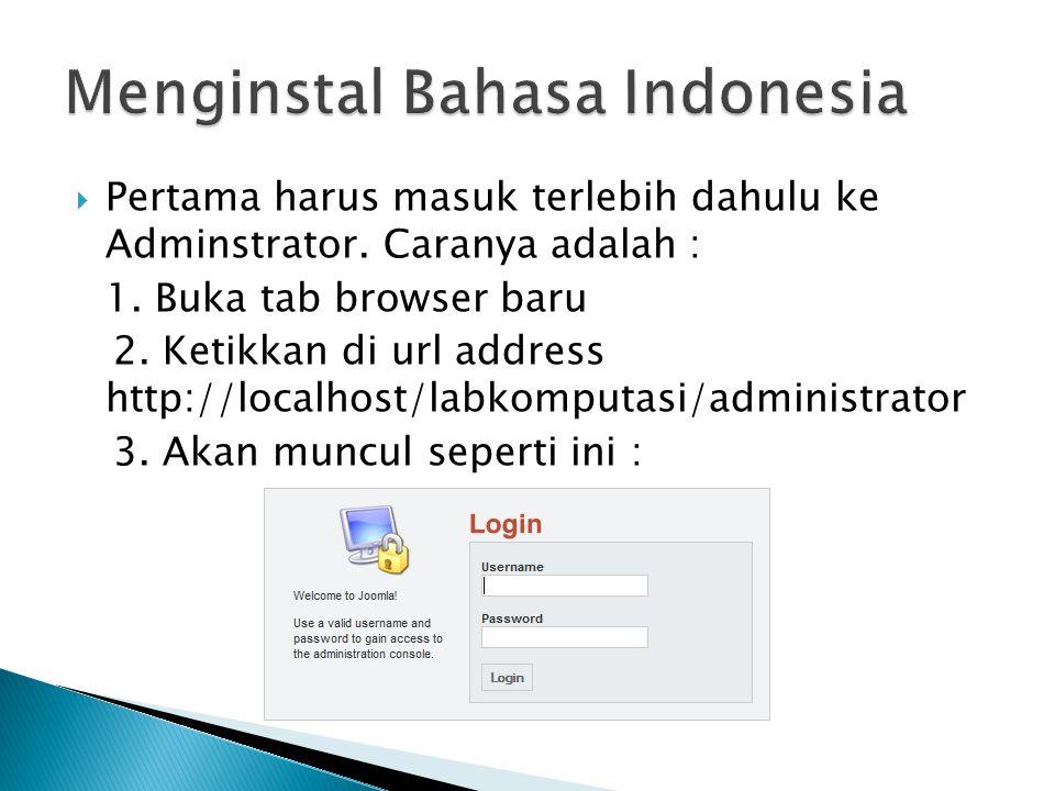 Menginstal Bahasa Indonesia