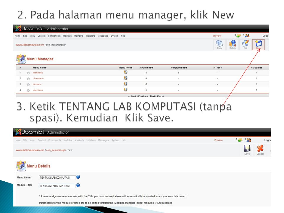 2. Pada halaman menu manager, klik New