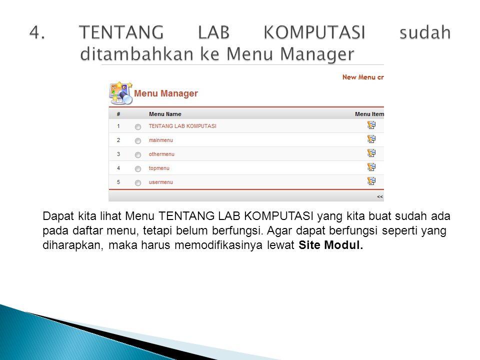 4. TENTANG LAB KOMPUTASI sudah ditambahkan ke Menu Manager