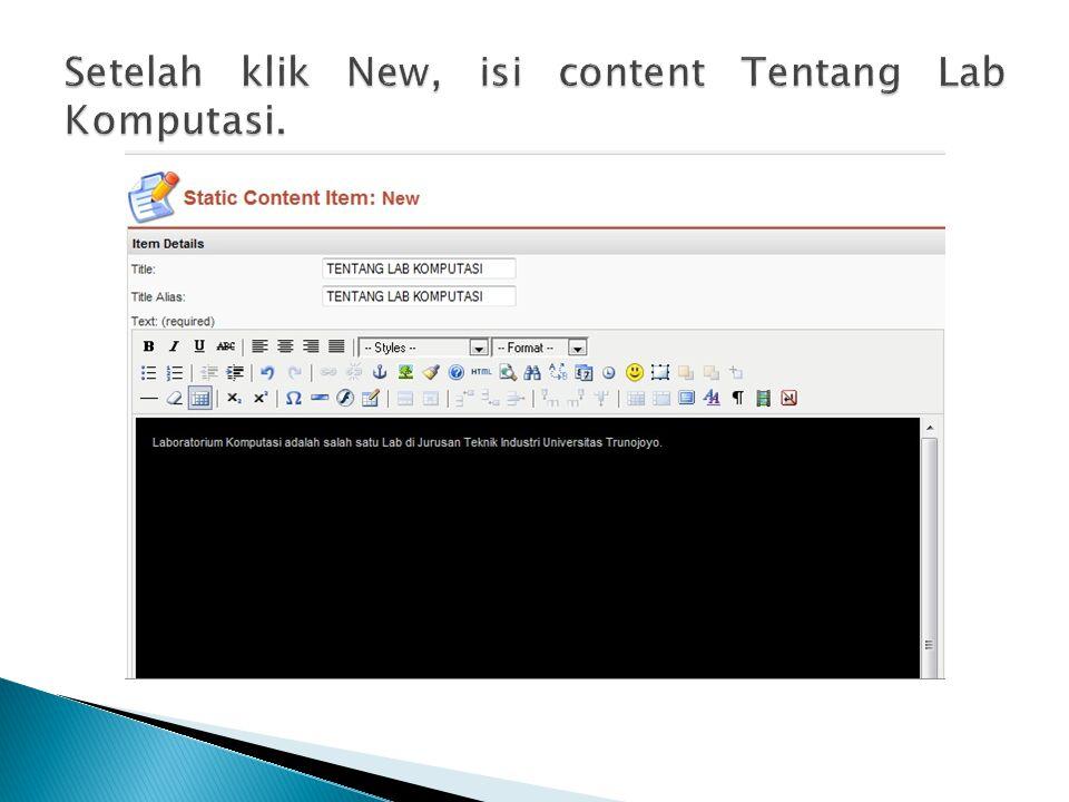 Setelah klik New, isi content Tentang Lab Komputasi.