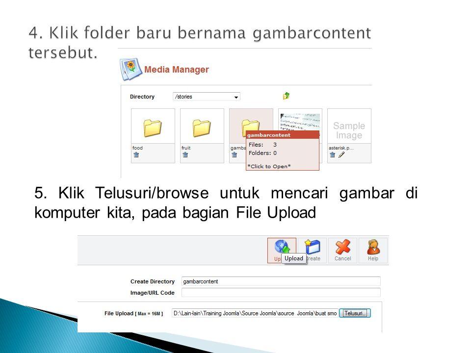 4. Klik folder baru bernama gambarcontent tersebut.