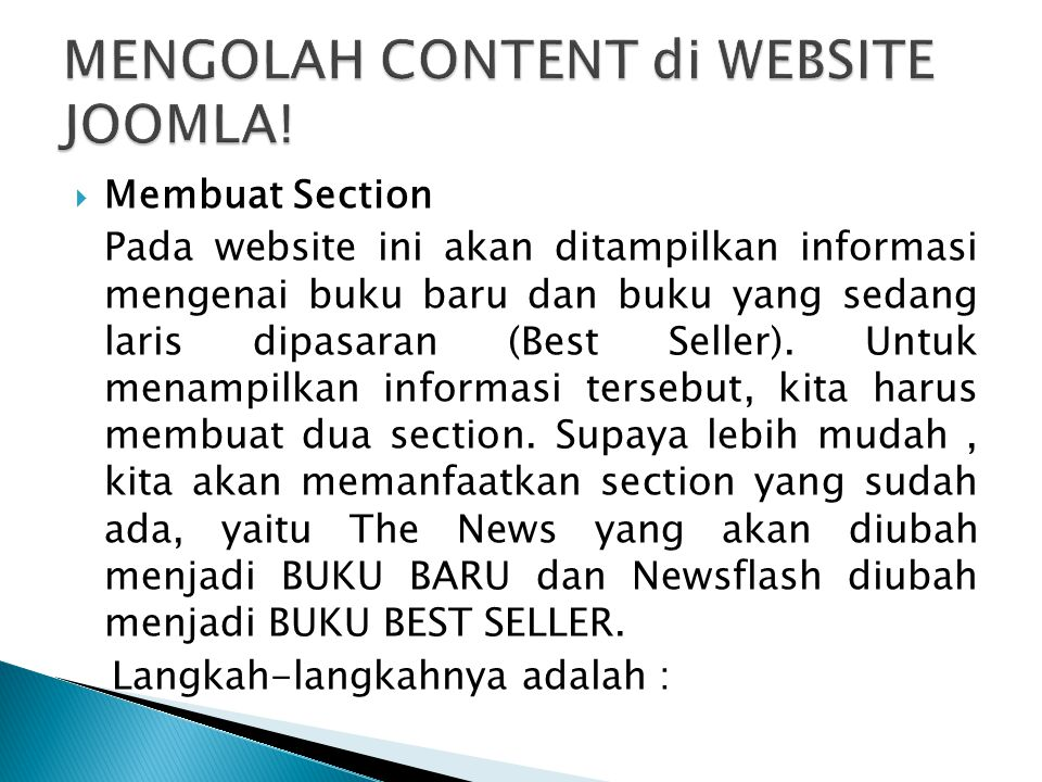 MENGOLAH CONTENT di WEBSITE JOOMLA!