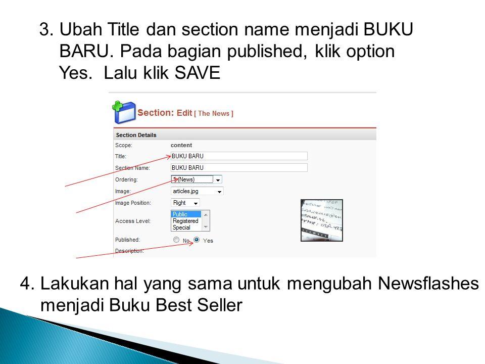 3. Ubah Title dan section name menjadi BUKU