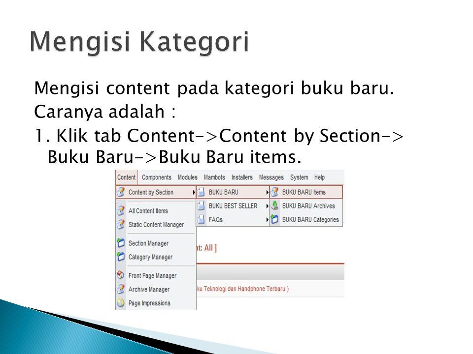 Mengisi Kategori Mengisi content pada kategori buku baru.