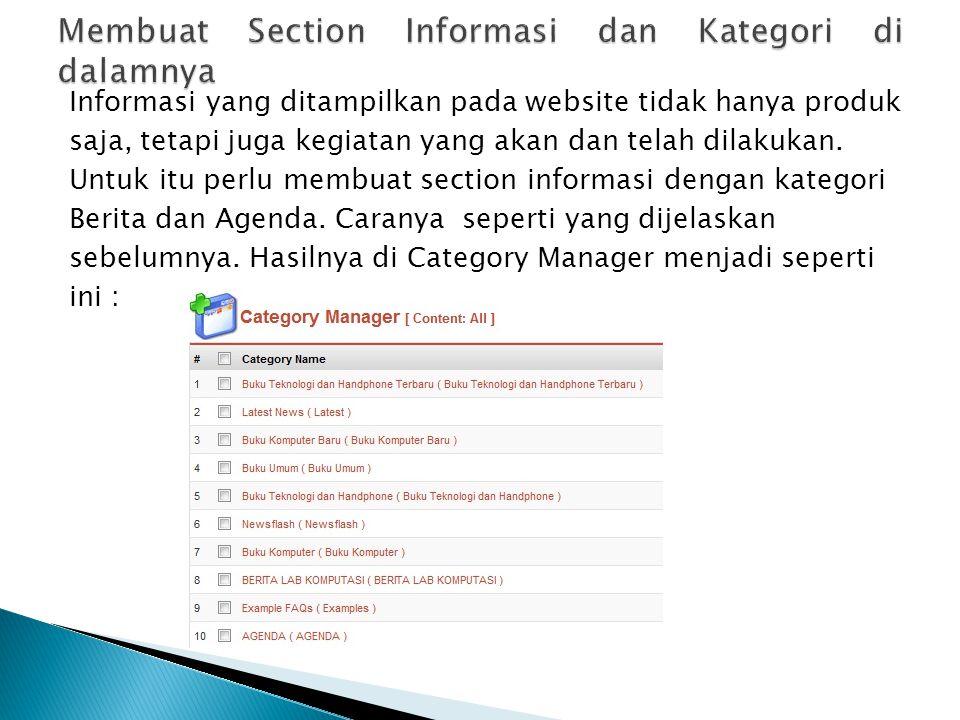 Membuat Section Informasi dan Kategori di dalamnya