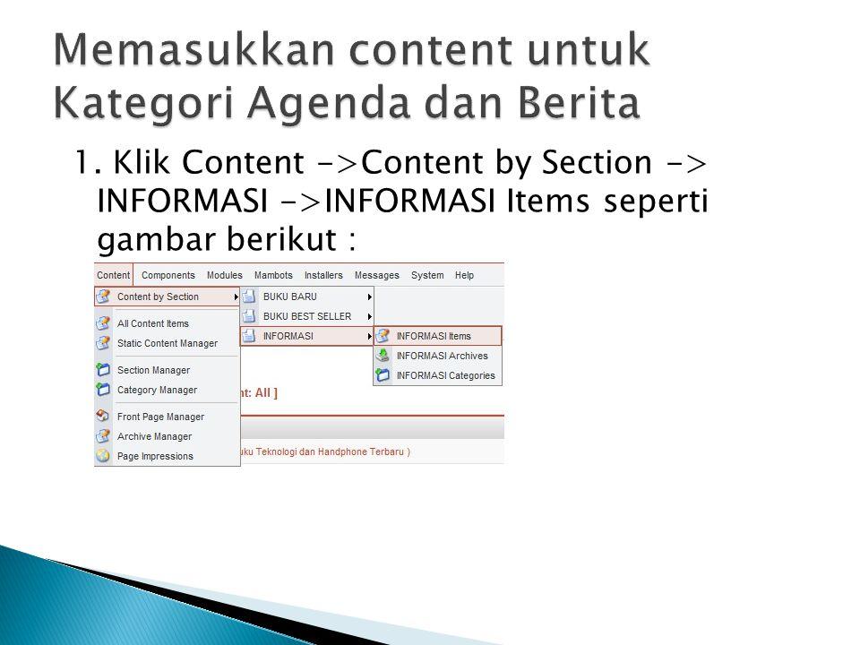 Memasukkan content untuk Kategori Agenda dan Berita