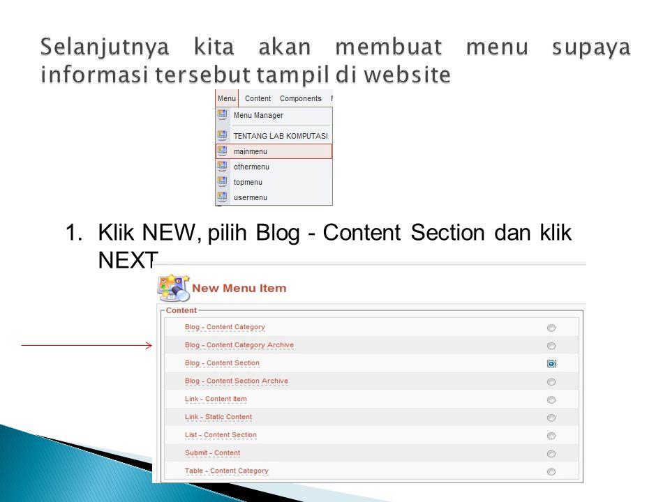 Selanjutnya kita akan membuat menu supaya informasi tersebut tampil di website