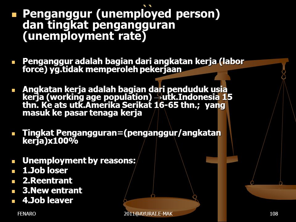 `` Penganggur (unemployed person) dan tingkat pengangguran (unemployment rate)