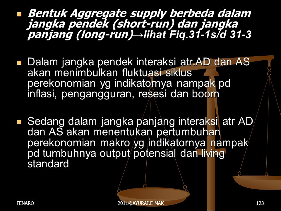 Bentuk Aggregate supply berbeda dalam jangka pendek (short-run) dan jangka panjang (long-run)→lihat Fiq.31-1s/d 31-3