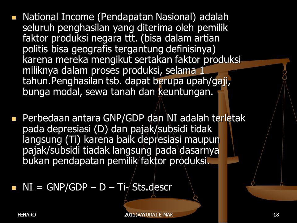 NI = GNP/GDP – D – Ti- Sts.descr