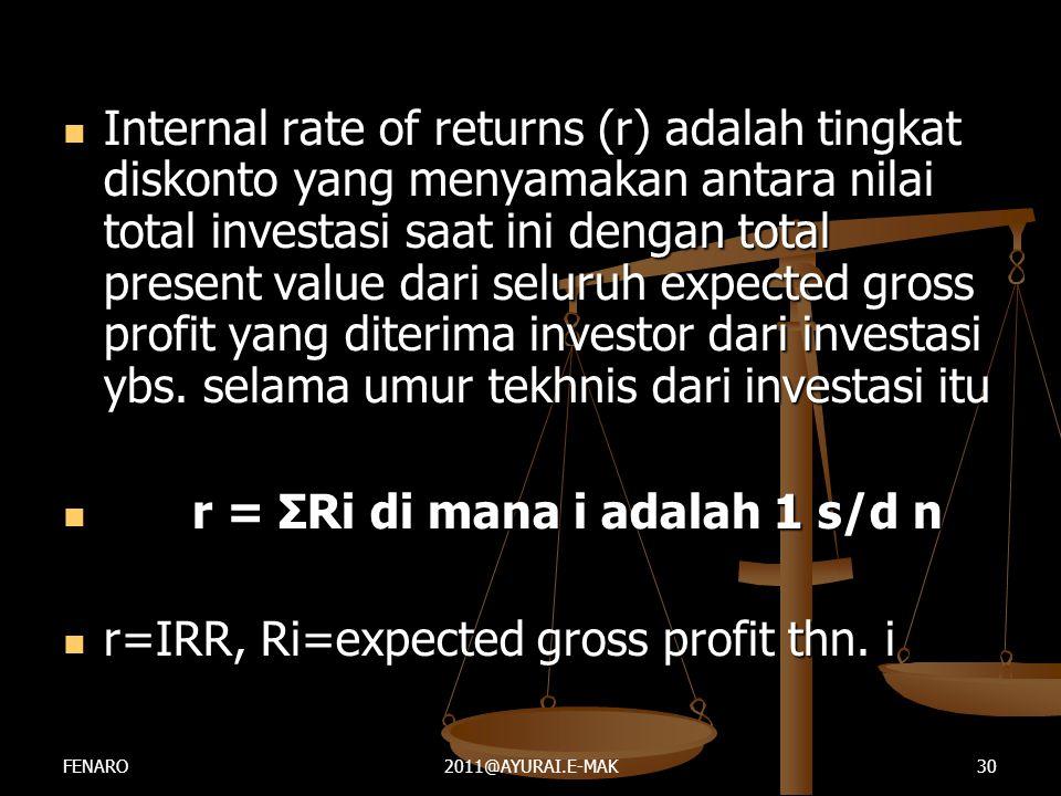 r = ΣRi di mana i adalah 1 s/d n