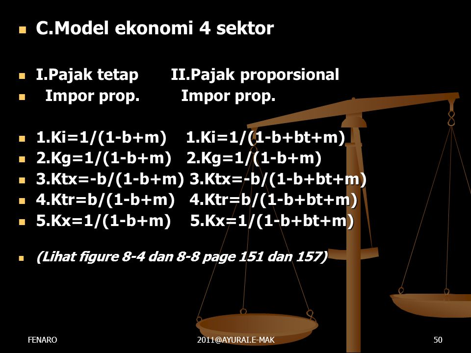 C.Model ekonomi 4 sektor I.Pajak tetap II.Pajak proporsional
