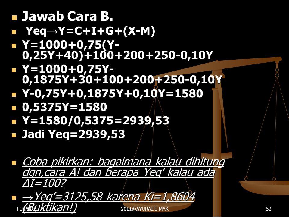 Jawab Cara B. Yeq→Y=C+I+G+(X-M)