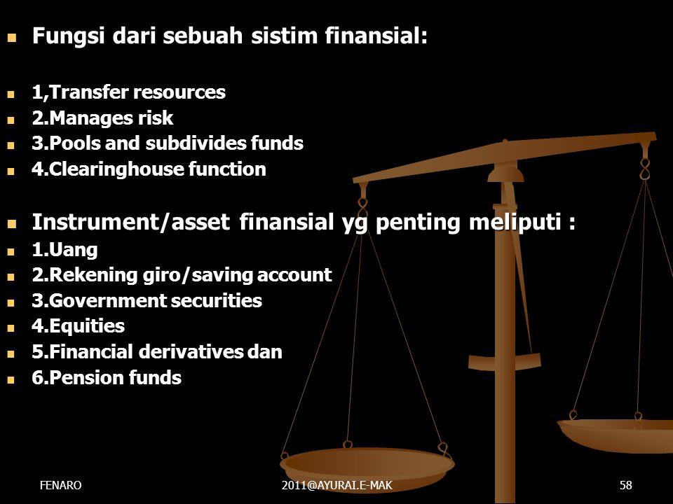 Fungsi dari sebuah sistim finansial: