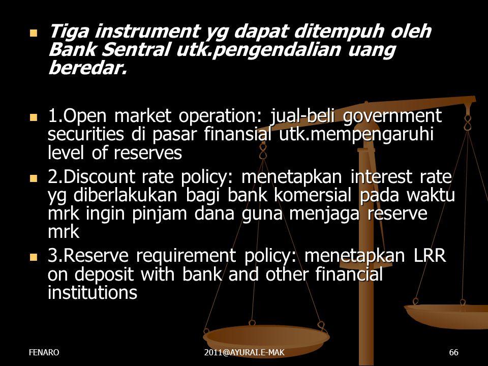 Tiga instrument yg dapat ditempuh oleh Bank Sentral utk
