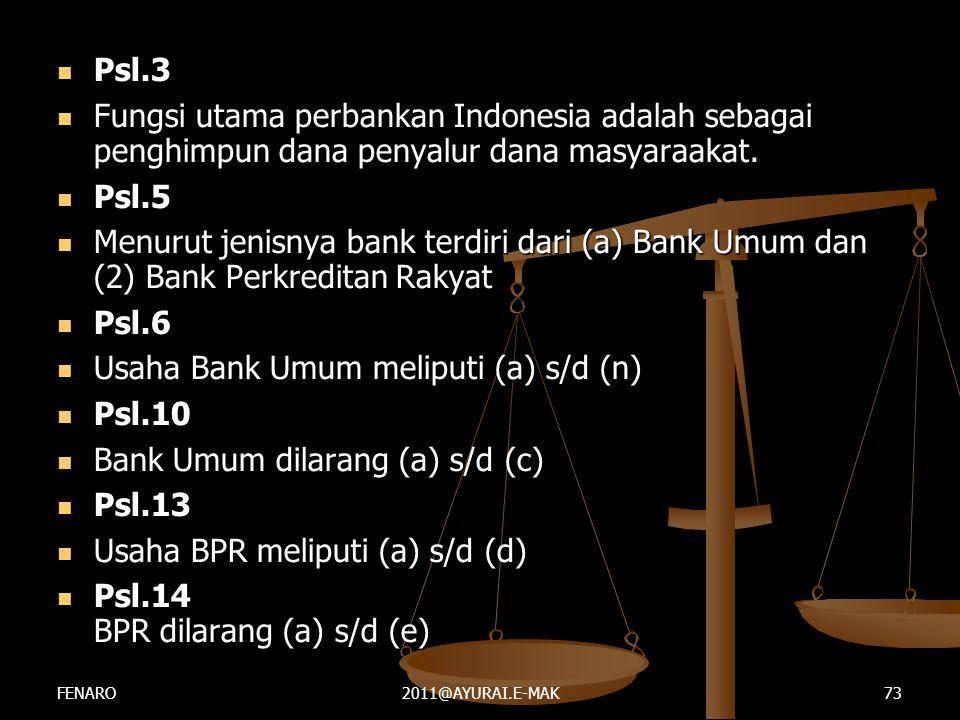 Usaha Bank Umum meliputi (a) s/d (n) Psl.10