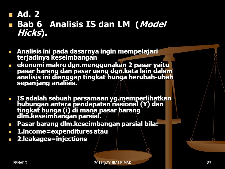 Bab 6 Analisis IS dan LM (Model Hicks).