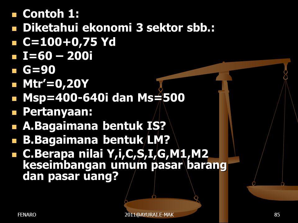 Diketahui ekonomi 3 sektor sbb.: C=100+0,75 Yd I=60 – 200i G=90